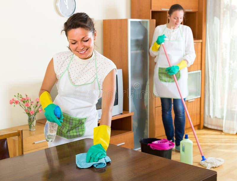 Θηλυκοί καθαριστές που καθαρίζουν το δωμάτιο στοκ εικόνα με δικαίωμα ελεύθερης χρήσης