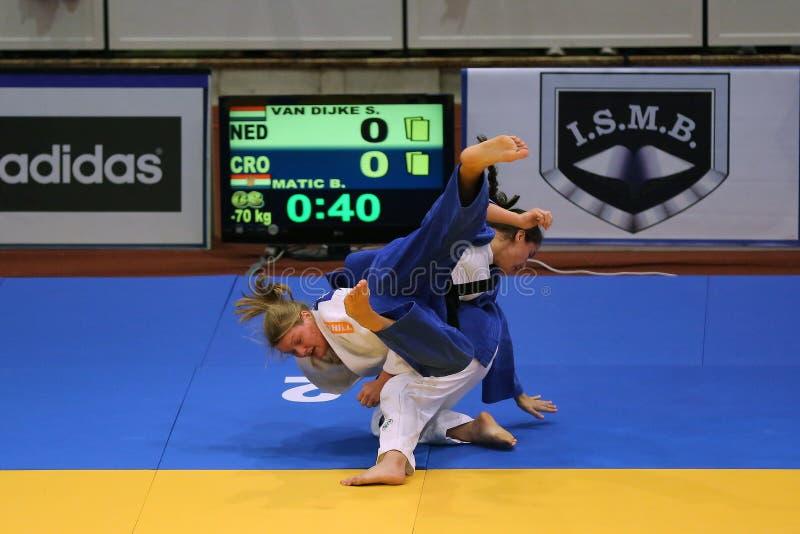 Θηλυκοί μαχητές τζούντου στοκ εικόνες