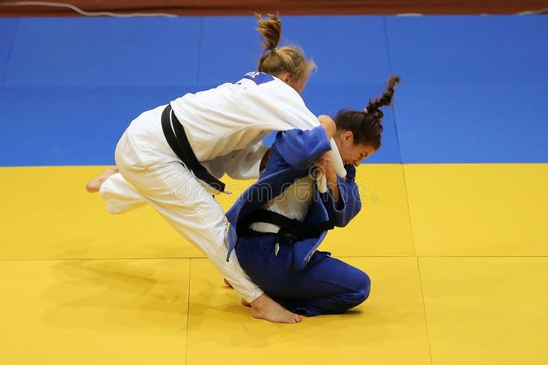 Θηλυκοί μαχητές τζούντου στοκ εικόνες με δικαίωμα ελεύθερης χρήσης