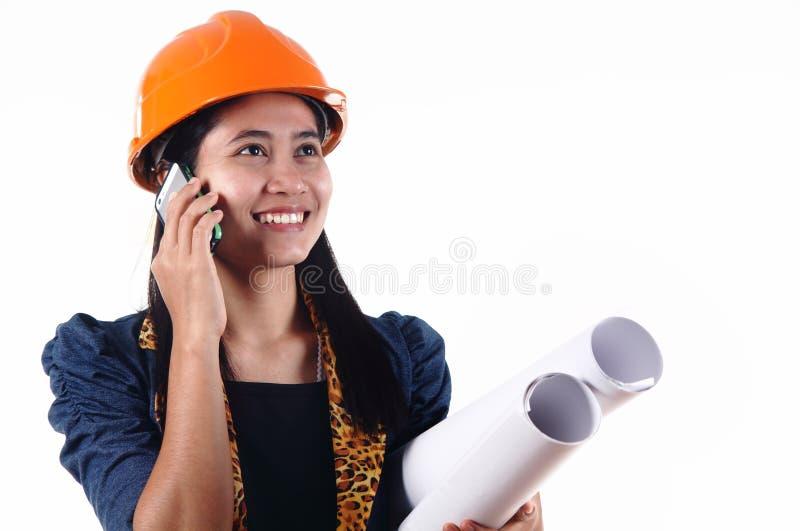 Θηλυκός αρχιτέκτονας που απομονώνεται στο άσπρο υπόβαθρο στοκ εικόνα με δικαίωμα ελεύθερης χρήσης
