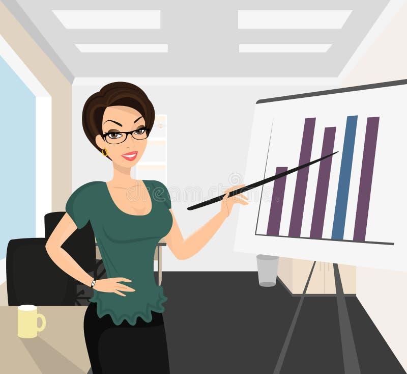 Θηλυκός επιχειρησιακός προπονητής διανυσματική απεικόνιση