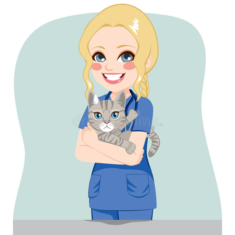 Θηλυκός κτηνίατρος με τη γάτα απεικόνιση αποθεμάτων