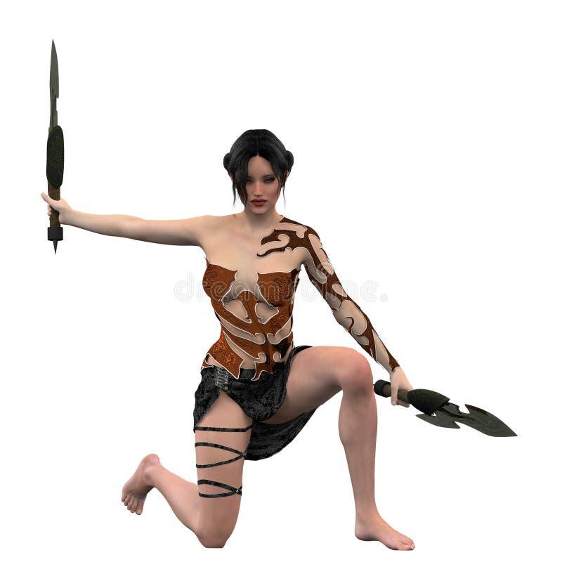 Θηλυκός μαχητής μαχαιριών φαντασίας ελεύθερη απεικόνιση δικαιώματος