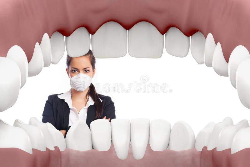 Θηλυκός οδοντίατρος που εξετάζει το στόμα διανυσματική απεικόνιση