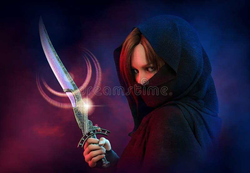 Θηλυκός δολοφόνος, τρισδιάστατο CG ελεύθερη απεικόνιση δικαιώματος