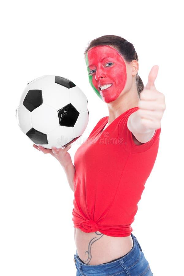 Θηλυκός πορτογαλικός ανεμιστήρας ποδοσφαίρου στοκ εικόνες με δικαίωμα ελεύθερης χρήσης