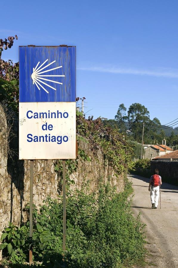 Θηλυκός προσκυνητής στον τρόπο του ST James στην Πορτογαλία στοκ εικόνες με δικαίωμα ελεύθερης χρήσης