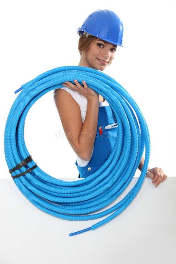 Θηλυκός υδραυλικός στοκ φωτογραφία