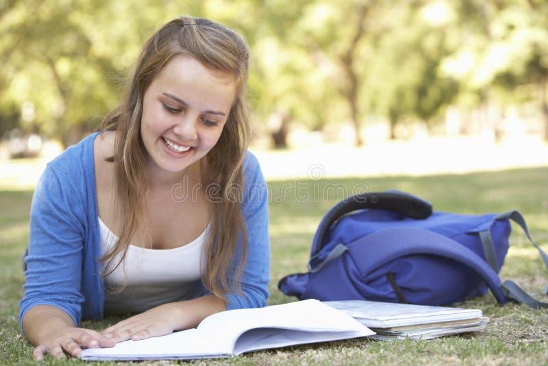 Θηλυκός φοιτητής πανεπιστημίου που βρίσκεται στο εγχειρίδιο ανάγνωσης πάρκων στοκ εικόνες