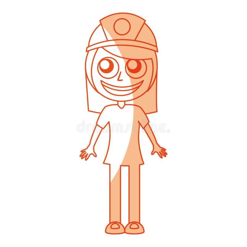 Θηλυκός χαρακτήρας ειδώλων ανθρακωρύχων διανυσματική απεικόνιση