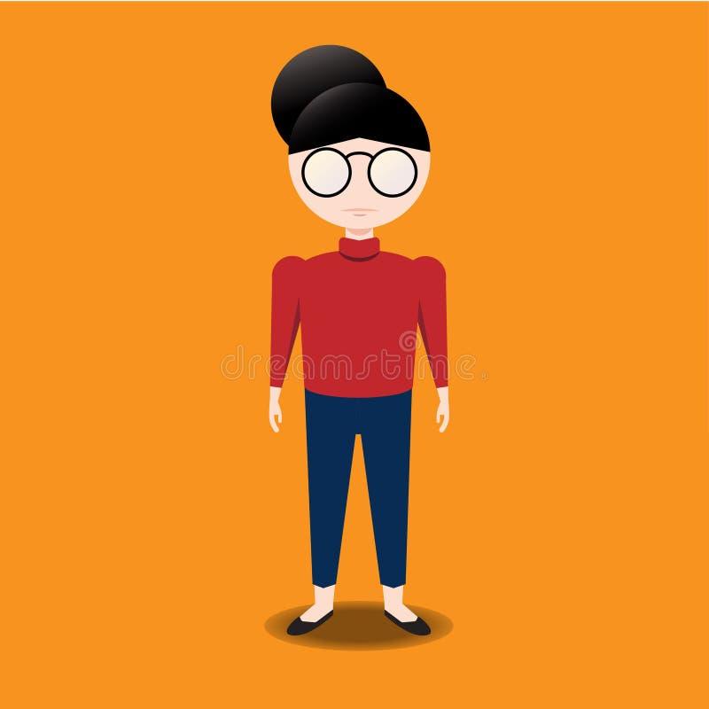 Θηλυκός χαρακτήρας με τα γυαλιά στοκ εικόνες με δικαίωμα ελεύθερης χρήσης