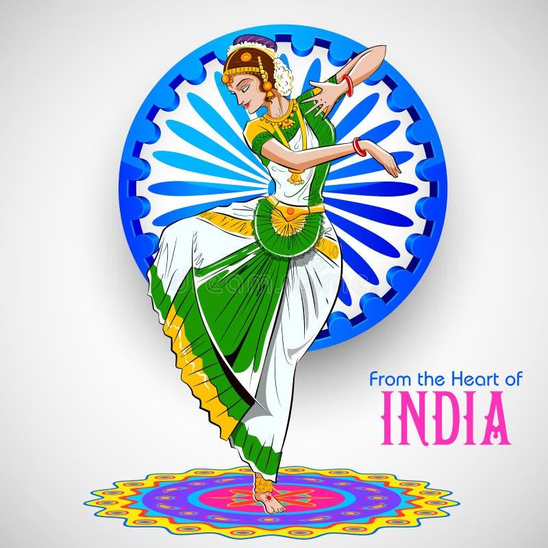 Θηλυκός χορευτής που χορεύει στο ινδικό υπόβαθρο που παρουσιάζει ζωηρόχρωμο πολιτισμό της Ινδίας διανυσματική απεικόνιση
