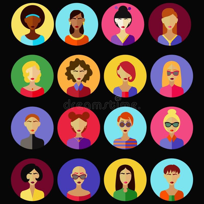 Θηλυκό διανυσματικό σύνολο χαρακτήρων οριζόντια διανυσματική απεικόνιση