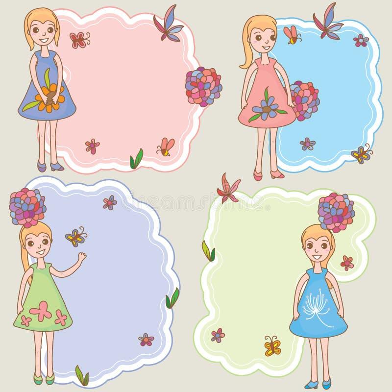Θηλυκό διαστημικό πρότυπο καρτών κοριτσιών παιδιών διανυσματική απεικόνιση
