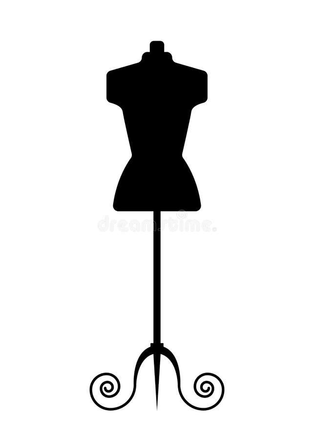 Θηλυκό μανεκέν για το ράφτη, μαύρο ομοίωμα στο επίπεδο ύφος Σχέδιο λογότυπων ραψίματος - διανυσματική απεικόνιση αποθεμάτων απεικόνιση αποθεμάτων