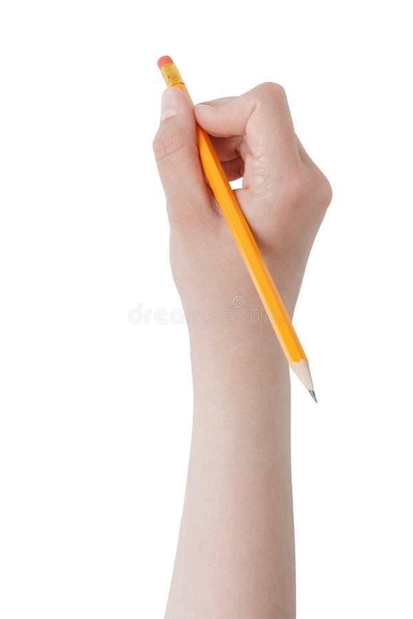 Θηλυκό μολύβι εκμετάλλευσης χεριών εφήβων με την κορυφή γομών στοκ εικόνες