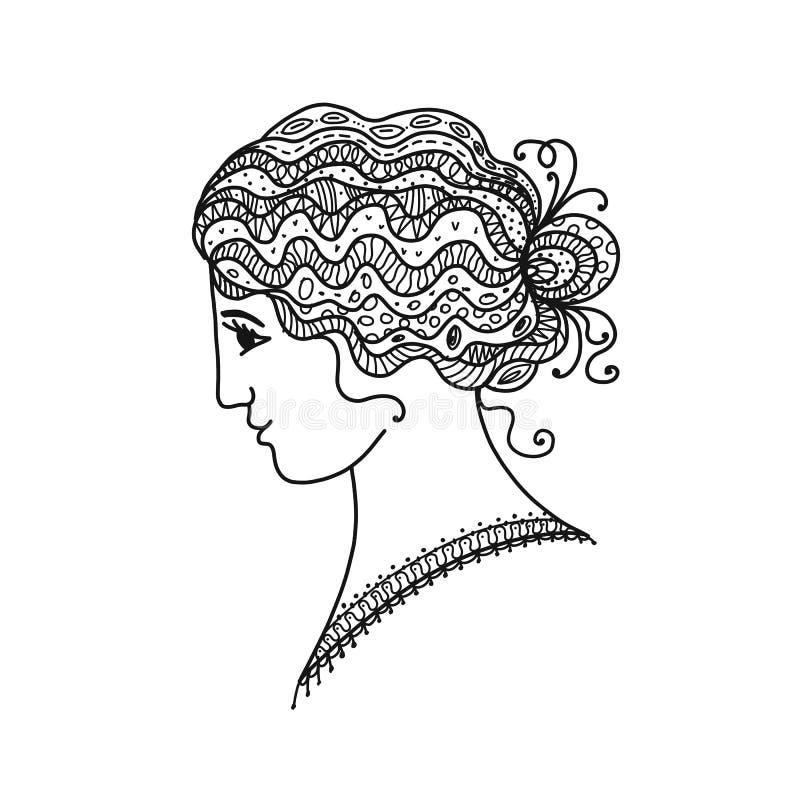 Θηλυκό πορτρέτο, μαύρη σκιαγραφία για το σχέδιό σας απεικόνιση αποθεμάτων