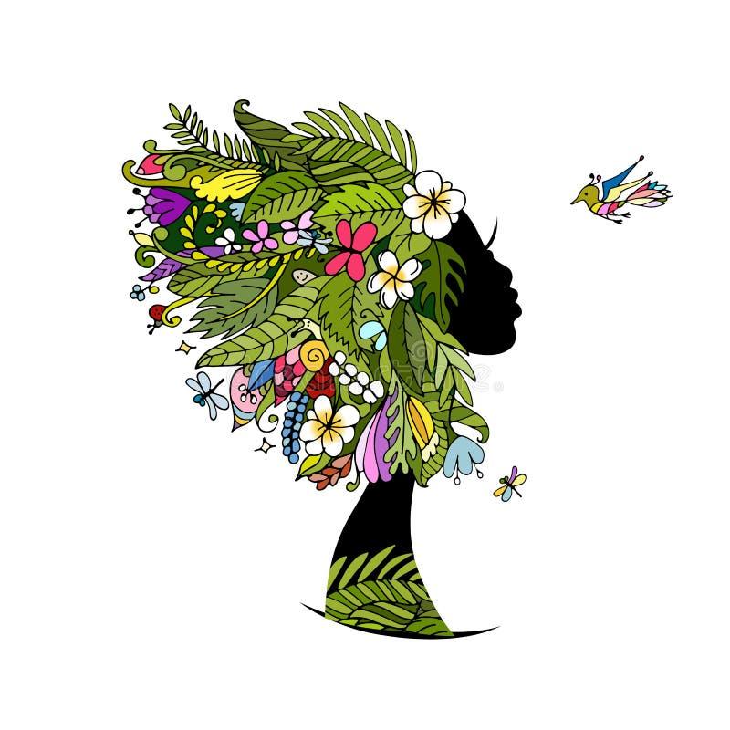 Θηλυκό πορτρέτο με το τροπικό hairstyle για το σχέδιό σας διανυσματική απεικόνιση