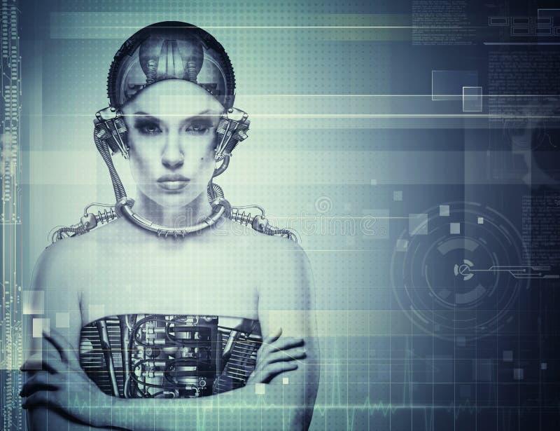 Θηλυκό πορτρέτο Techno στοκ φωτογραφία με δικαίωμα ελεύθερης χρήσης