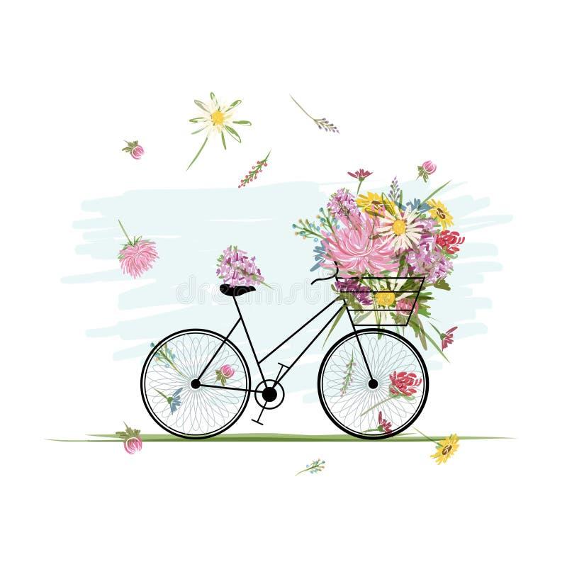 Θηλυκό ποδήλατο με το floral καλάθι για το σχέδιό σας διανυσματική απεικόνιση
