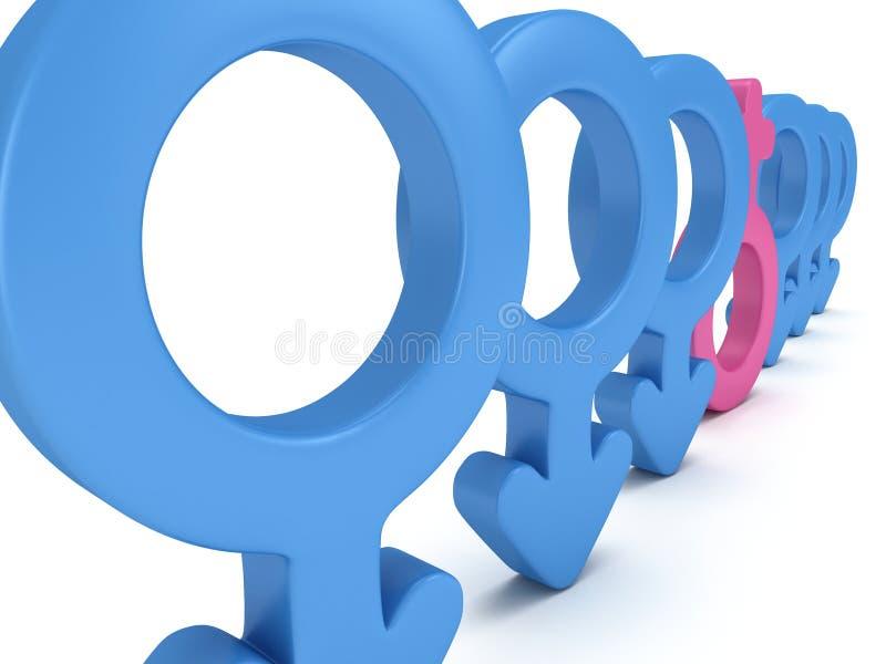 Θηλυκό σημάδι στη σειρά των αρσενικών σημαδιών απεικόνιση αποθεμάτων