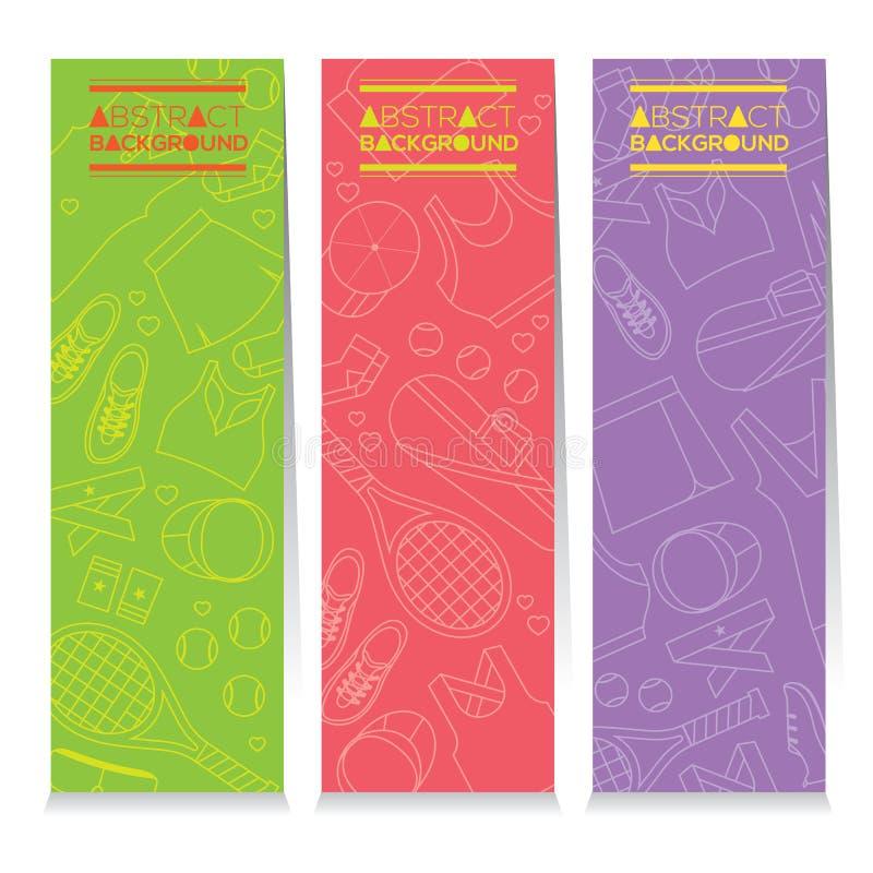 Θηλυκό σύνολο εργαλείων αντισφαίρισης τριών αφηρημένων ζωηρόχρωμων κάθετων εμβλημάτων ελεύθερη απεικόνιση δικαιώματος