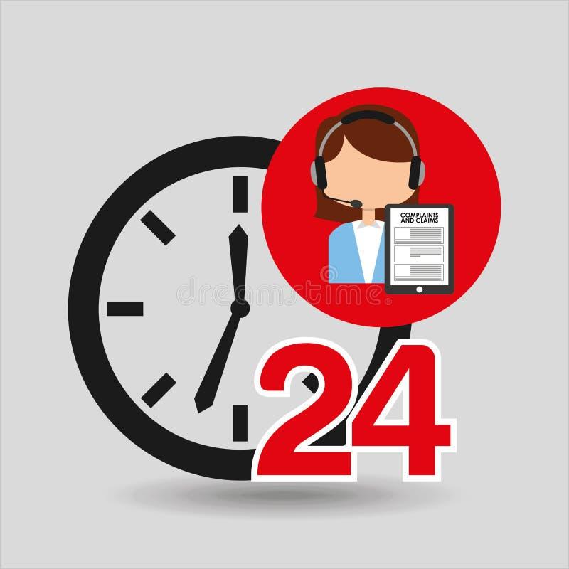 Θηλυκό τηλεφωνικό κέντρο 24 αξιώσεις καταγγελιών υπηρεσιών ρολογιών ελεύθερη απεικόνιση δικαιώματος