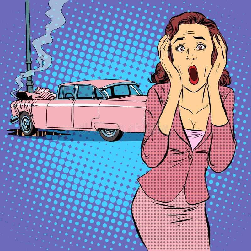 Θηλυκό τροχαίο οδηγών διανυσματική απεικόνιση