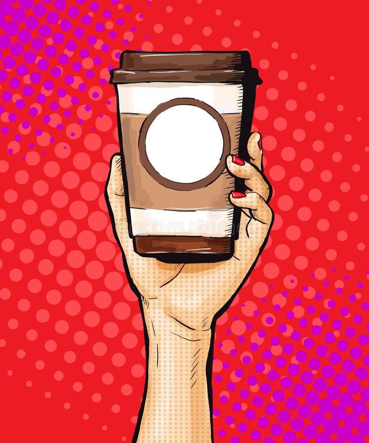 Θηλυκό φλυτζάνι καφέ εκμετάλλευσης χεριών στο λαϊκό ύφος τέχνης ελεύθερη απεικόνιση δικαιώματος