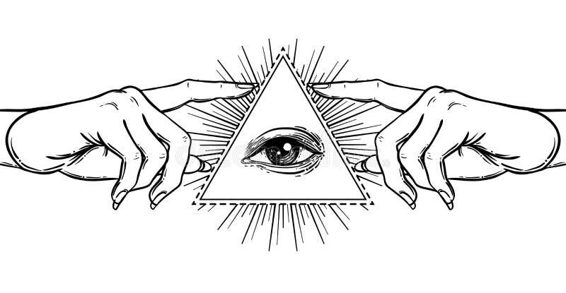 Θηλυκό χέρι που δείχνει σε κάτι με το δείκτη Νέος κόσμος Ord διανυσματική απεικόνιση
