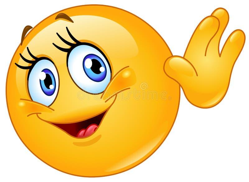 Θηλυκό emoticon που κυματίζει γειά σου διανυσματική απεικόνιση