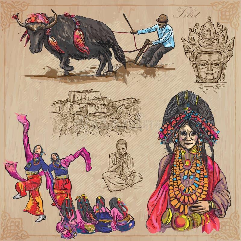 Θιβέτ Ταξίδι - εικόνες της ζωής Διανυσματικό πακέτο διανυσματική απεικόνιση