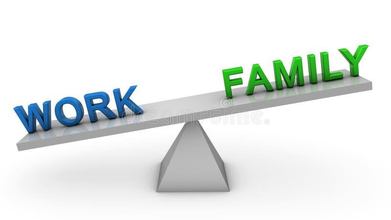 Θιγμένες εργασία και οικογένεια απεικόνιση αποθεμάτων