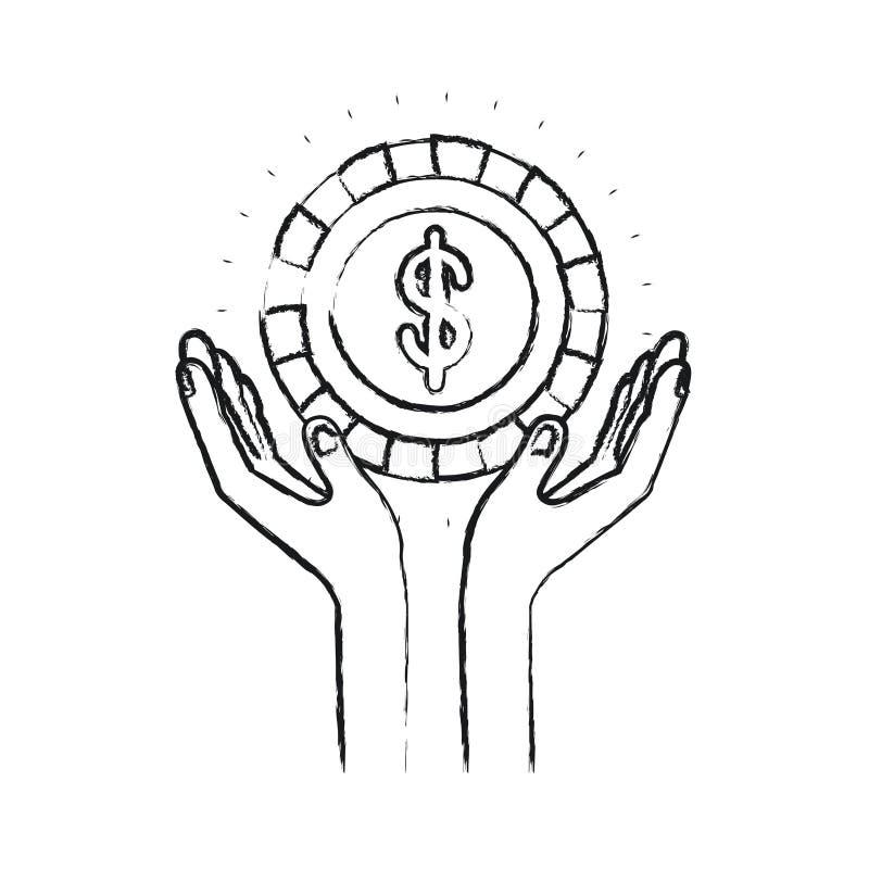 Θολωμένα χέρια σκιαγραφιών με το επιπλέον νόμισμα με το σύμβολο δολαρίων μέσα διανυσματική απεικόνιση