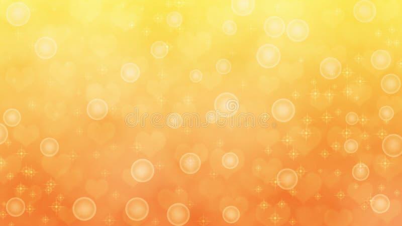 Θολωμένες περίληψη καρδιές, σπινθηρίσματα και φυσαλίδες στο κίτρινο και πορτοκαλί υπόβαθρο στοκ εικόνα με δικαίωμα ελεύθερης χρήσης