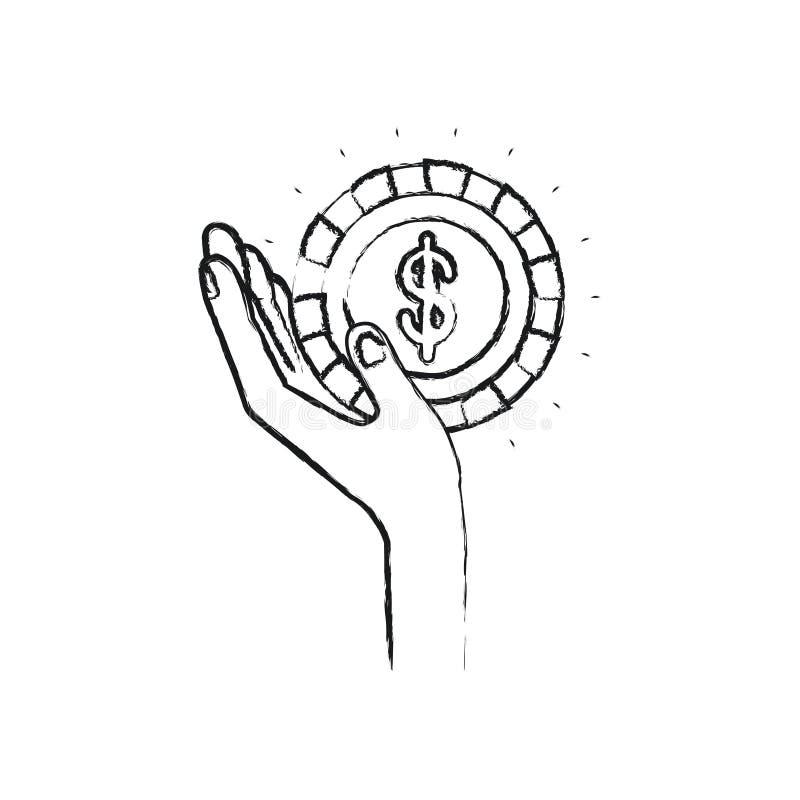 Θολωμένη αριστερή εκμετάλλευση σκιαγραφιών στο φοίνικα ένα νόμισμα με το σύμβολο δολαρίων μέσα ελεύθερη απεικόνιση δικαιώματος