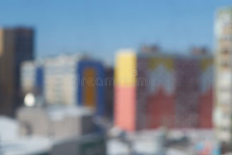 Θολωμένη εικόνα αρκετοί υψηλό διαμέρισμα, multi-storey κτήρια στοκ εικόνα