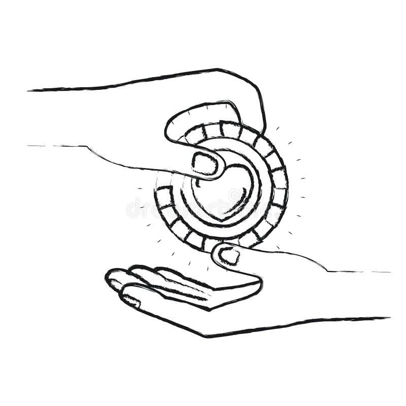 Θολωμένη πλάγια όψη σκιαγραφιών του ανθρώπου παλαμών που κρατά ένα νόμισμα με τη μορφή καρδιών μέσα στην κατάθεση σε άλλο χέρι ελεύθερη απεικόνιση δικαιώματος