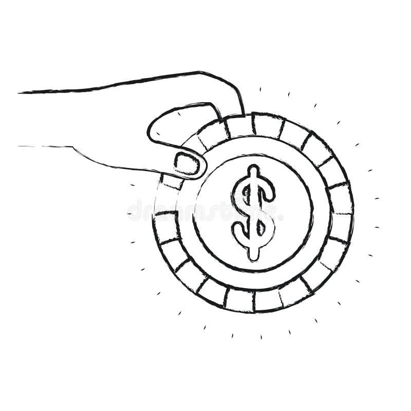Θολωμένη πλάγια όψη σκιαγραφιών του χεριού που κρατά ένα νόμισμα με το σύμβολο δολαρίων μέσα στην κατάθεση απεικόνιση αποθεμάτων