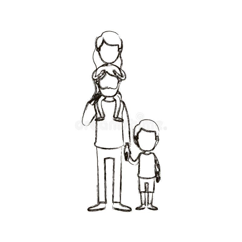 Θολωμένος απρόσωπος γενειοφόρος πατέρας καρικατουρών σκιαγραφιών με το κορίτσι σε ετοιμότητα την πλάτη και ληφθε'ντα αγόρι του διανυσματική απεικόνιση