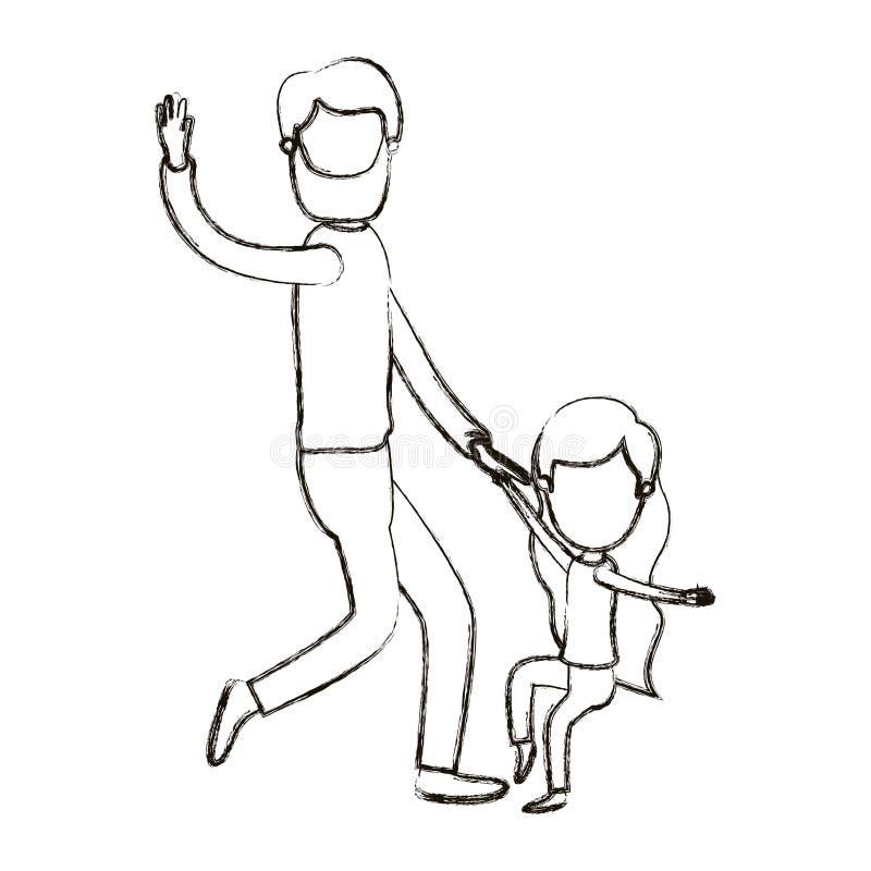 Θολωμένος απρόσωπος γενειοφόρος πατέρας καρικατουρών σκιαγραφιών με το χορό κοριτσιών διανυσματική απεικόνιση