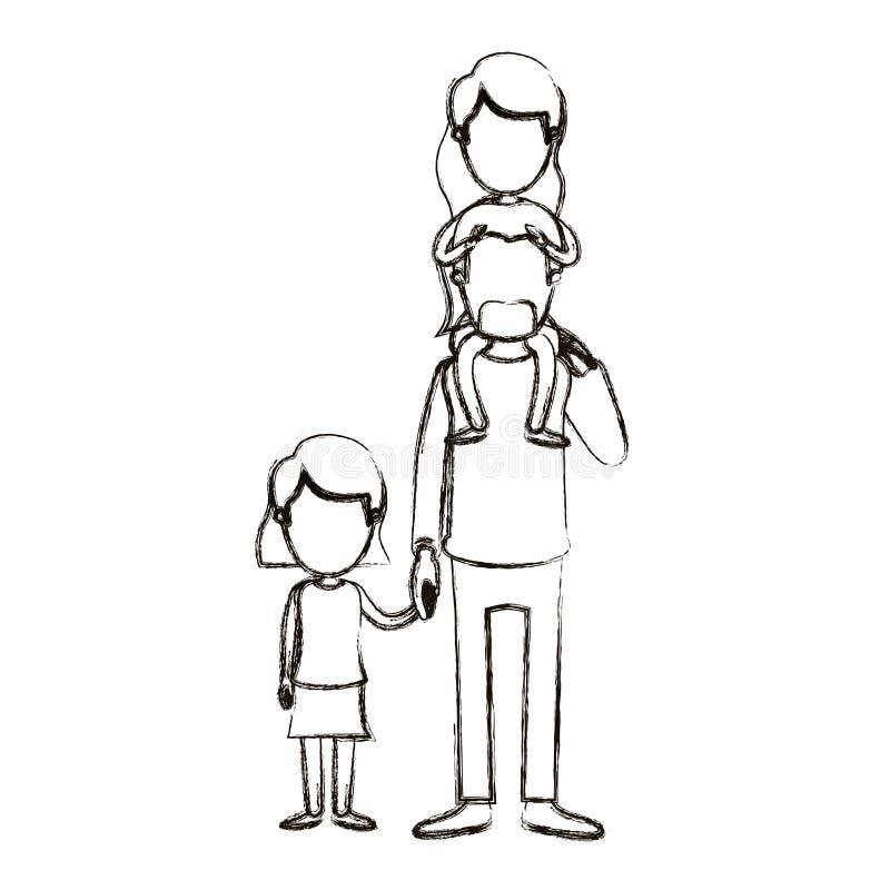 Θολωμένος απρόσωπος μπαμπάς καρικατουρών σκιαγραφιών με το daugther σε ετοιμότητα την πλάτη και ληφθε'ντα κορίτσι του ελεύθερη απεικόνιση δικαιώματος