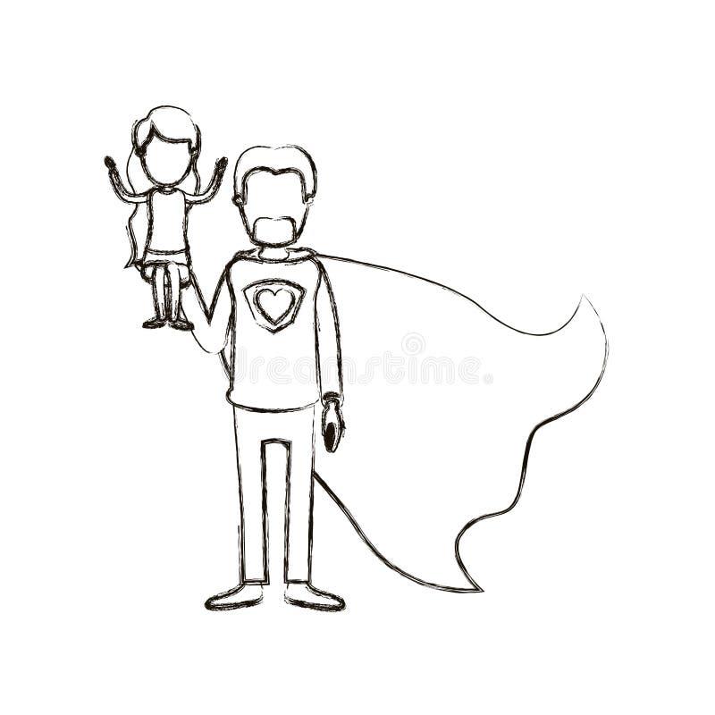 Θολωμένος σκιαγραφιών καρικατουρών απρόσωπος πλήρης ήρωας μπαμπάδων σωμάτων έξοχος με το κορίτσι σε ετοιμότητα του ελεύθερη απεικόνιση δικαιώματος