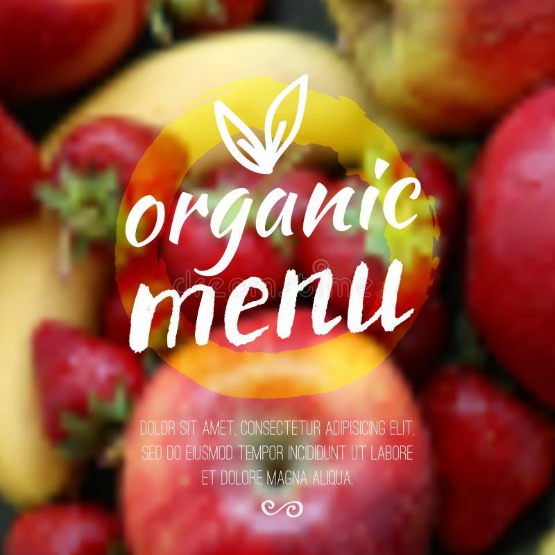 Θολωμένο διάνυσμα υπόβαθρο με τα φρούτα και την ετικέτα eco Υγιής φρέσκια έννοια τροφίμων, χορτοφάγων και eco Μπορέστε να χρησιμο ελεύθερη απεικόνιση δικαιώματος