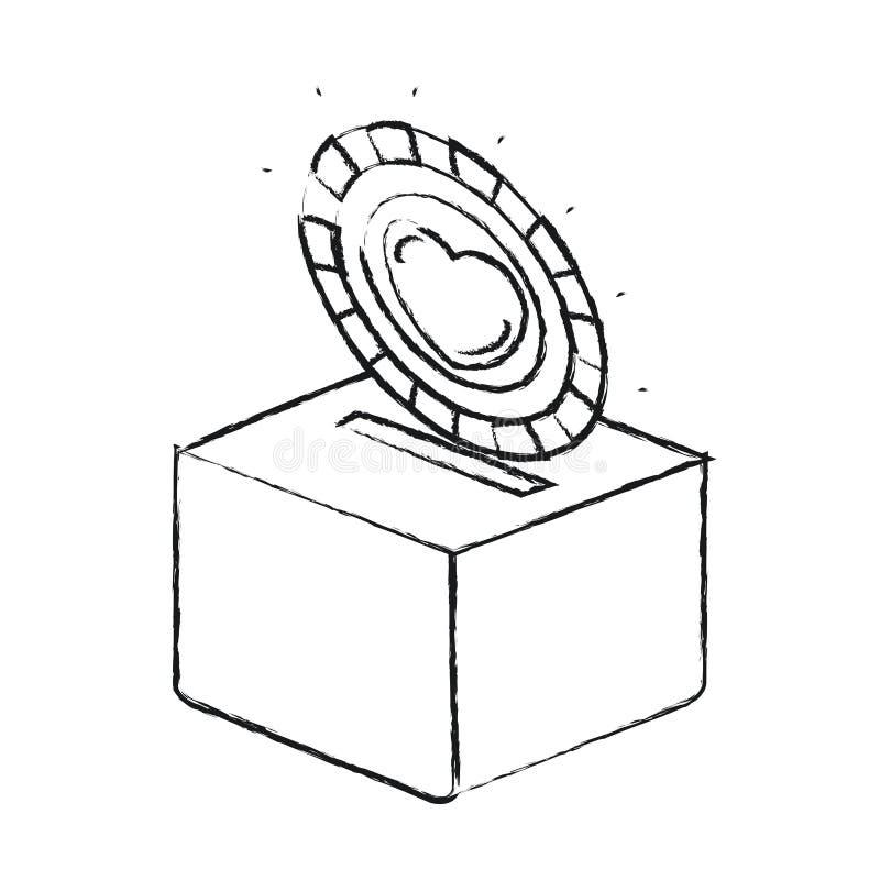 Θολωμένο επίπεδο νόμισμα σκιαγραφιών με το σύμβολο καρδιών μέσα στην κατάθεση σε ένα κιβώτιο χαρτοκιβωτίων ελεύθερη απεικόνιση δικαιώματος