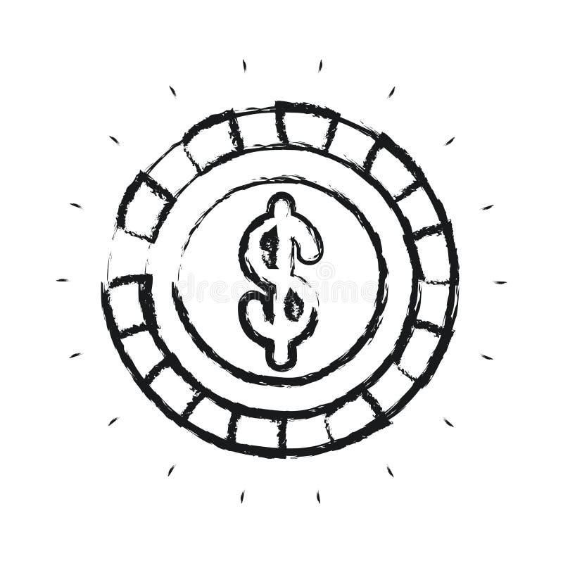 Θολωμένο νόμισμα μπροστινής άποψης σκιαγραφιών με το σύμβολο δολαρίων μέσα ελεύθερη απεικόνιση δικαιώματος