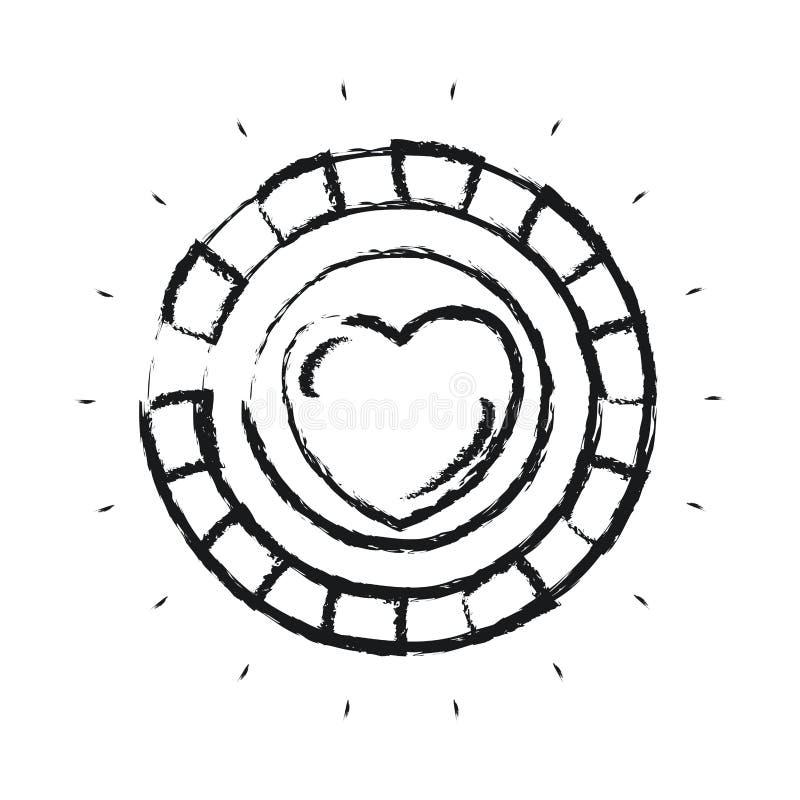 Θολωμένο νόμισμα μπροστινής άποψης σκιαγραφιών με το σύμβολο καρδιών μέσα διανυσματική απεικόνιση