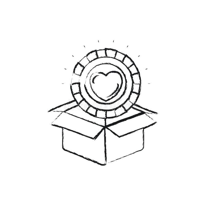 Θολωμένο νόμισμα σκιαγραφιών με τη μορφή καρδιών μέσα στην έξοδο από του κουτιού από χαρτόνι απεικόνιση αποθεμάτων