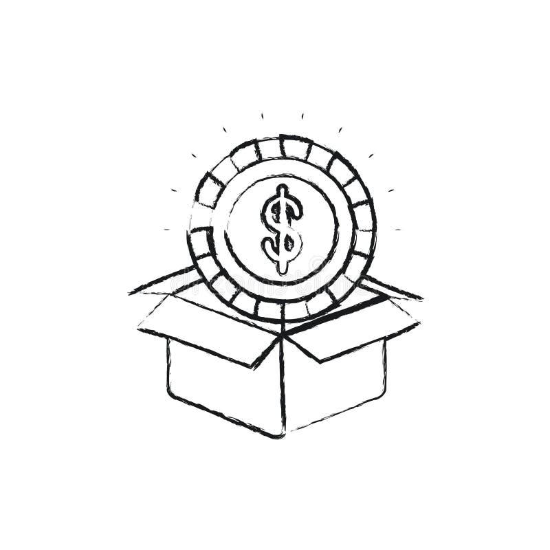 Θολωμένο νόμισμα σκιαγραφιών με το σύμβολο δολαρίων μέσα στην έξοδο από του κουτιού από χαρτόνι διανυσματική απεικόνιση