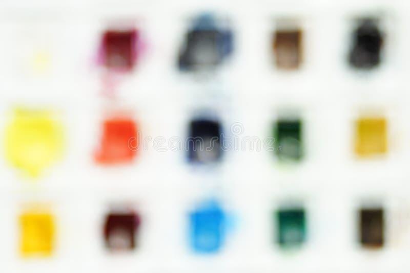 Θολωμένο υπόβαθρο ενός συνόλου χρωμάτων watercolor στοκ φωτογραφίες με δικαίωμα ελεύθερης χρήσης